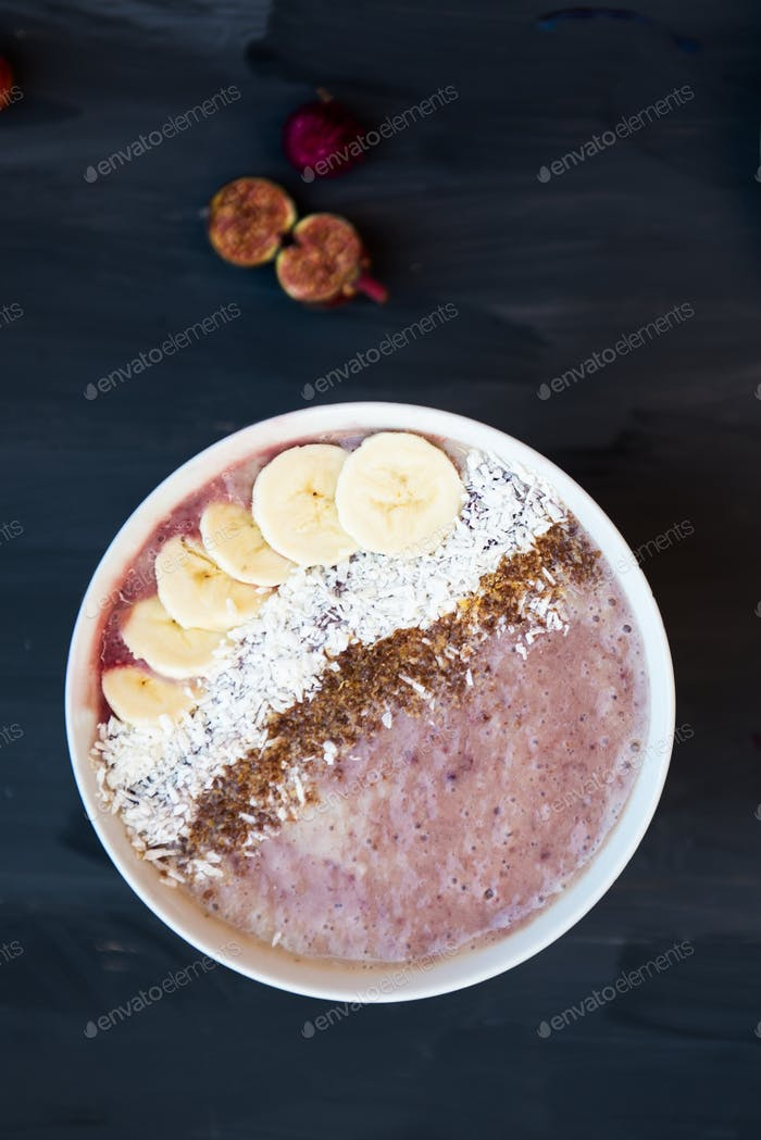 Healthy Banana and Strawberries  Smoothie in the Bowl