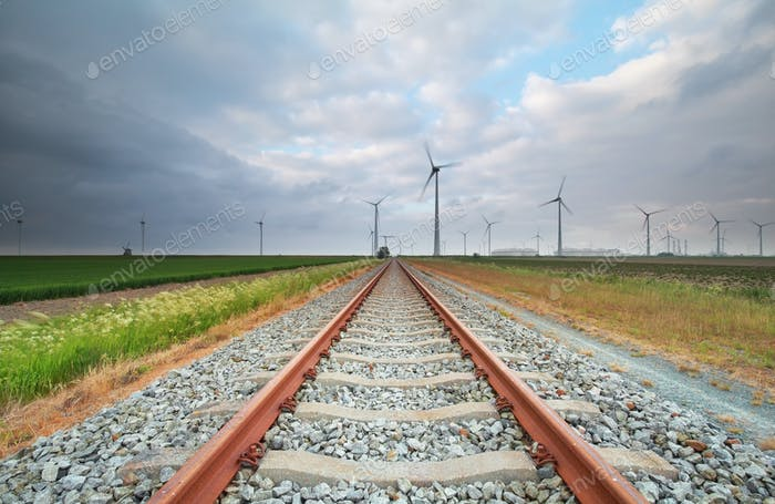 railway and windmill turbines