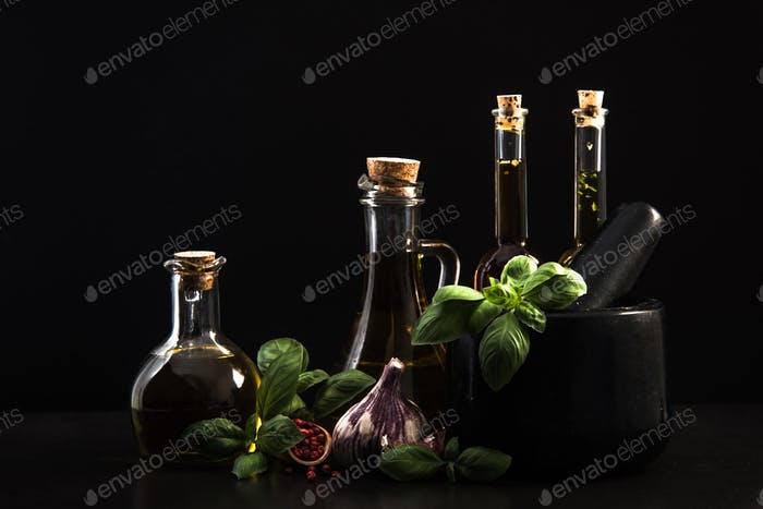 Infused olive oils, herbs and spices
