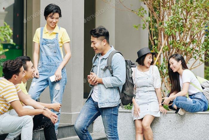 Students at university campus