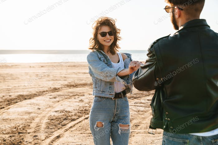 Beautiful young lovely couple spending time amazing time