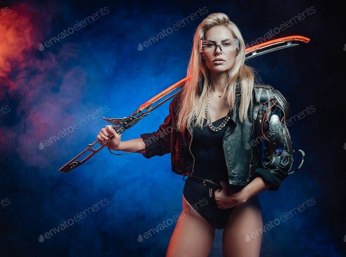 Beautiful woman in cyberpunk poses holding glowing blade