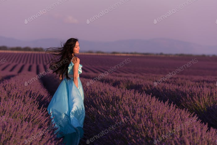 woman in lavender flower field