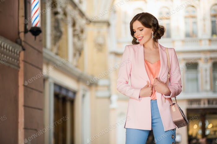 attractive stylish woman street fashion