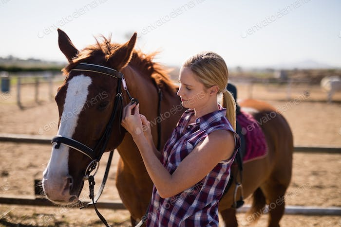 Side view of young female standing by horse