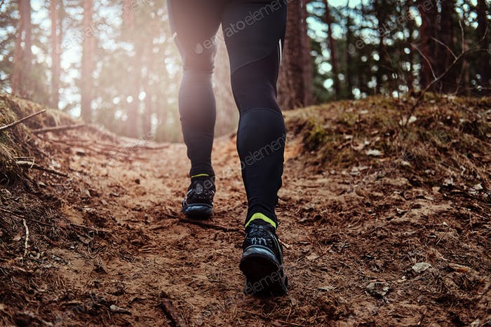 Athlete climbs up the hill along the forest trail. An active way of life.