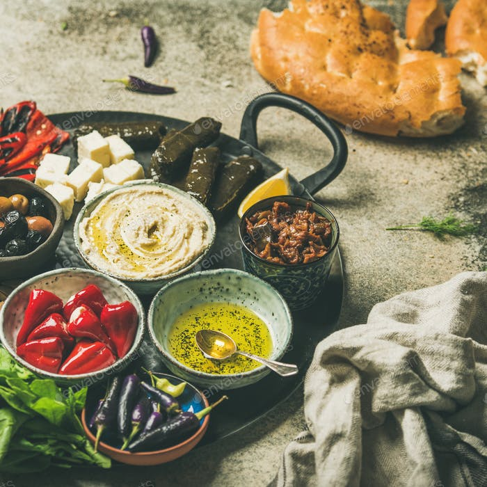 Mediterranean meze starter fingerfood platter, square crop