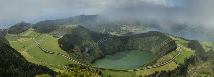 Aerial view of Twin Crater Lakes in rural landscape, Sao Miguel, Portugal