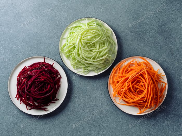 zucchini, carrot, and beetroot noodles, copy space