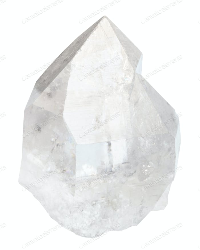 clear rock crystal isolated on white