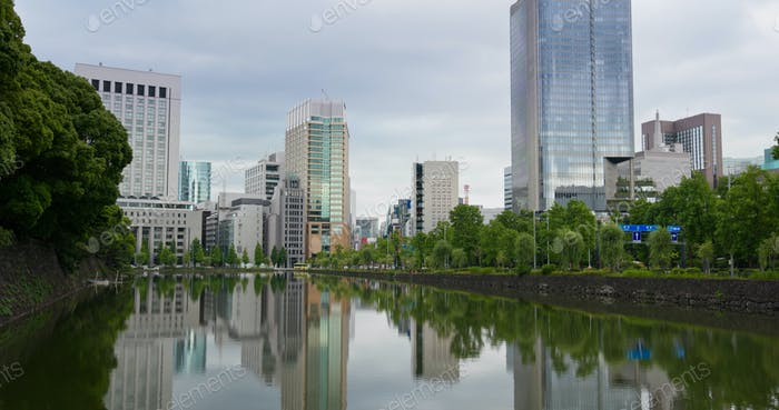 Tokyo, Japan, 07 July 2019: Tokyo business district