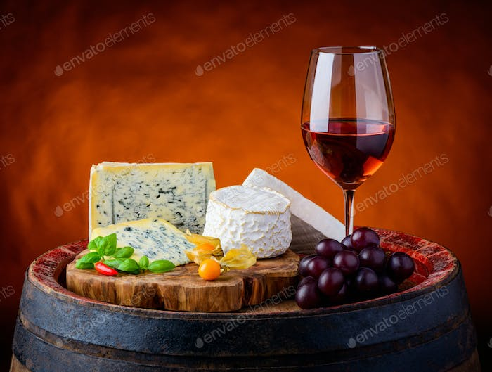 Gorgonzola, Camembert, Brie Cheese and Rose Wine