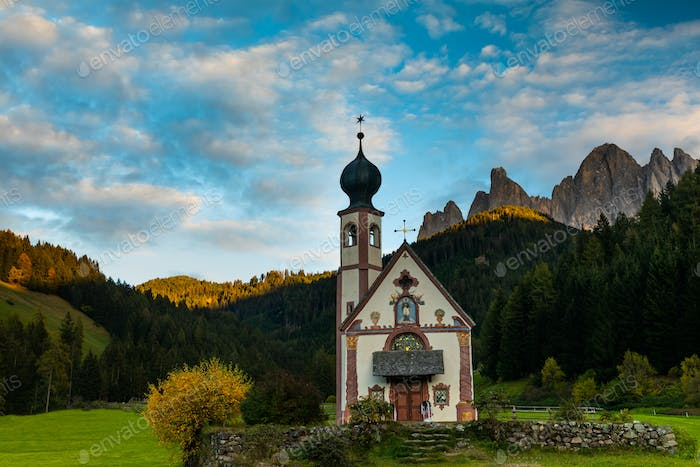 Santa Maddalena village in front of the Geisler, Val di Funes, Italy, Europe.