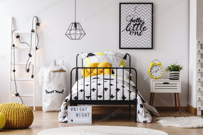Yellow clock in child's bedroom