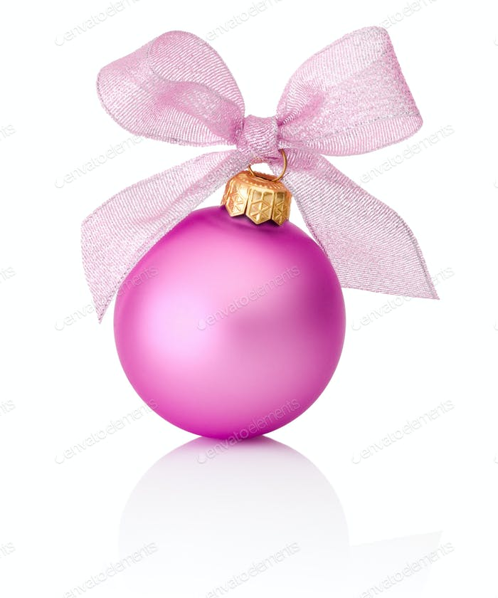 Pink Christmas ball with ribbon bow Isolated on white background