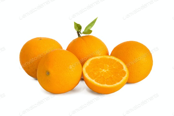 Ripe juicy oranges isolated on white background