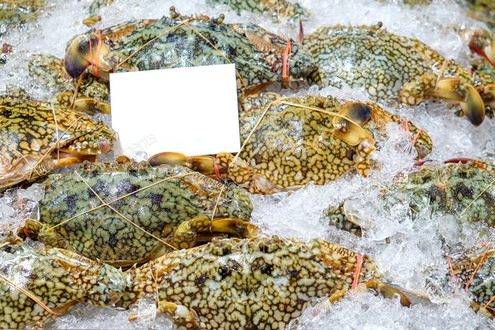 Crabs and ice on the market,White label on top.