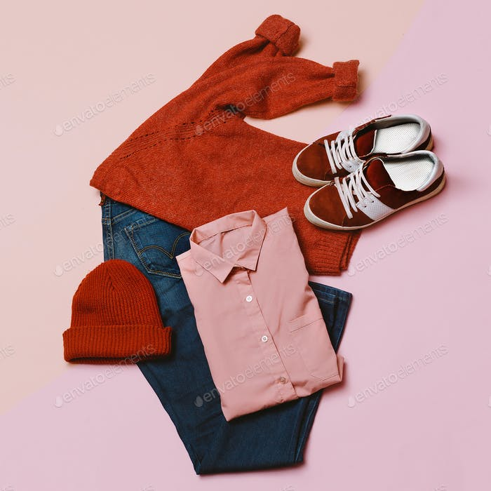 Stylish clothes set. City casual fashion. Spring. Stylish access