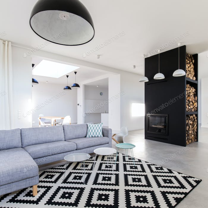 Living room with sofa and fireplace