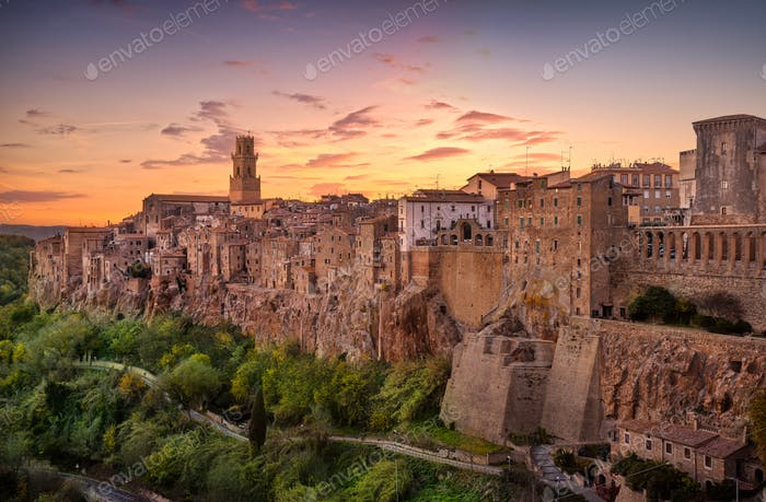 Tuscany, Pitigliano medieval village panorama sunset. Italy