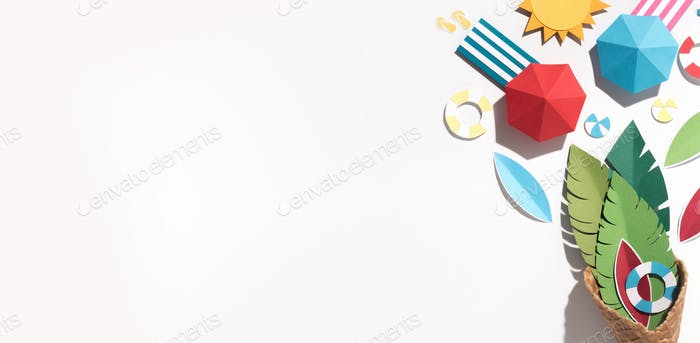 Creative summer wallpaper with beach resort inside cornet
