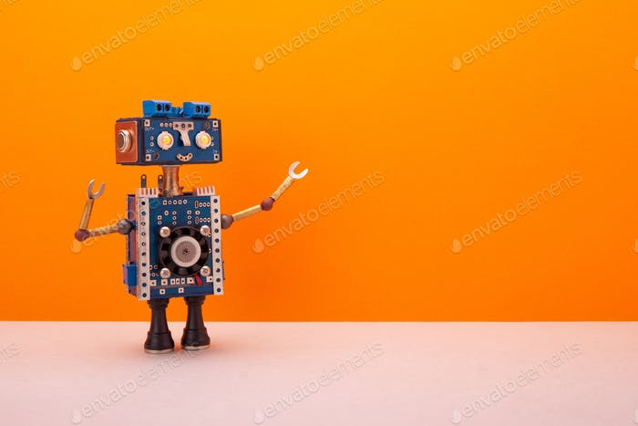 A smiling robot with a blue head and body on orange background