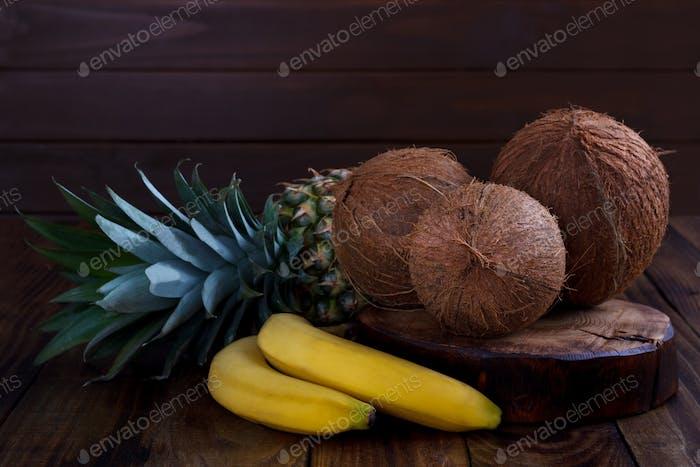 Pineapple,banana and coconut