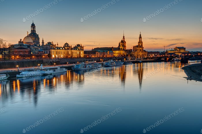 The old town of Dresden at sunset