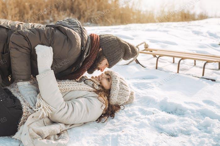 Couple Having Fun in Winter Outdoors
