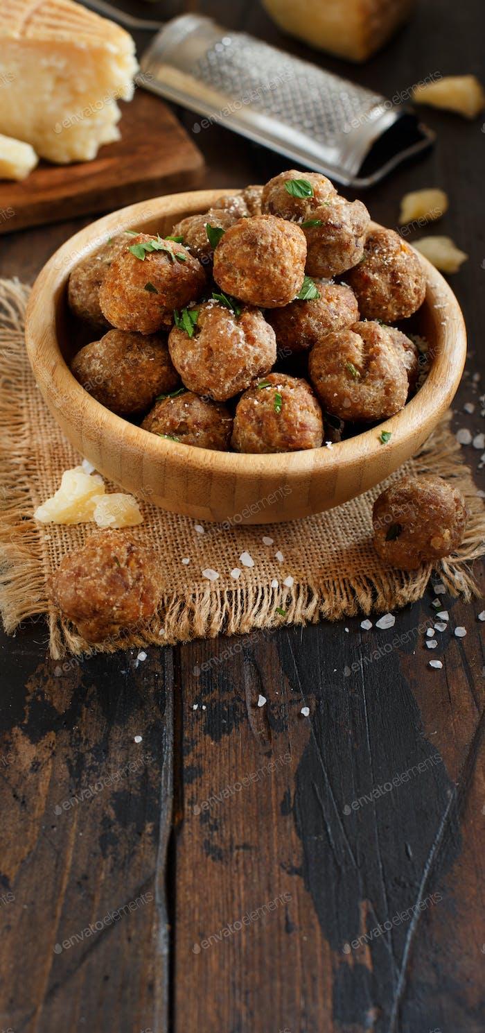 Fresh fried meatballs
