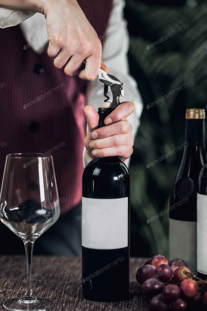Opening Wine Bottle With Corkscrew
