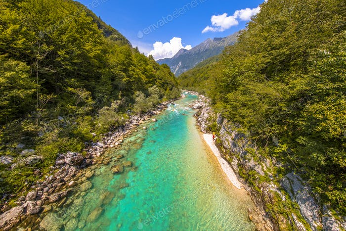 Vivid blue Soca river valley