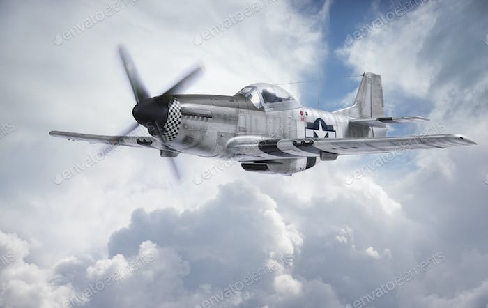 World War II P-51 Fighter in Clouds
