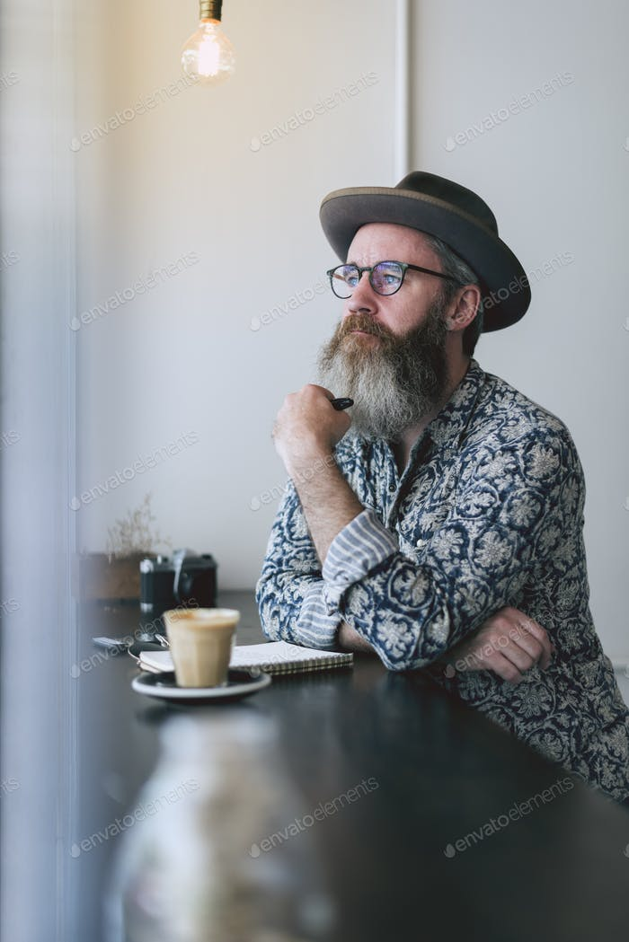 Senior Man Writing Working Coffee Shop Realxation Concept
