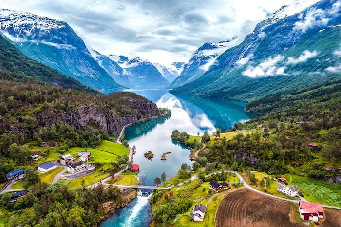 Schöne Natur Norwegen Luftaufnahmen.