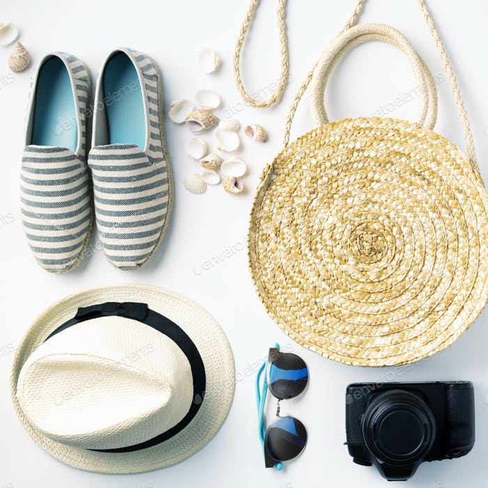 Flat lay traveler accessories