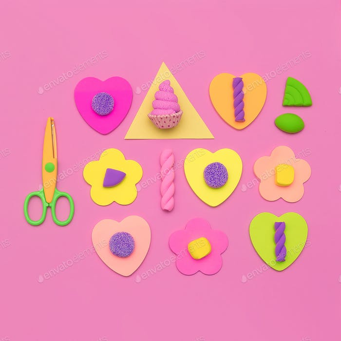 Candy Minimal Sweet vibes. Fashion Flatlay art. Candy lover Conc
