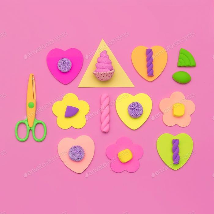 Candy Minimal Sweet Vibes. Modische Flatlay-Kunst. Süßigkeiten-Liebhaber Conc