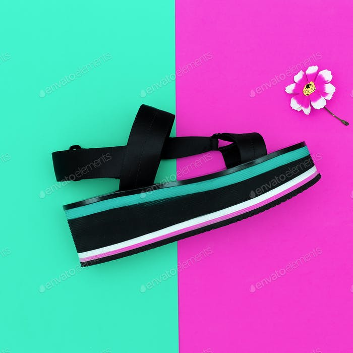 Stylish Summer. Fashion sandals with platform