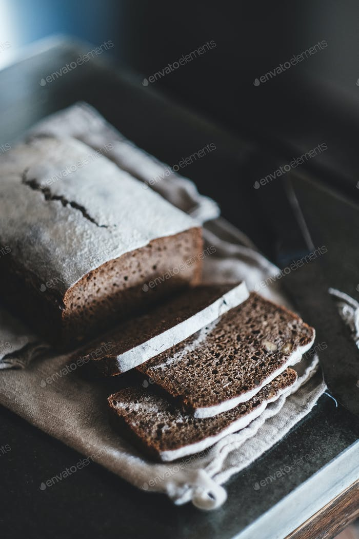 Healthy rye Swedish bread cut in slices over kitchen counter