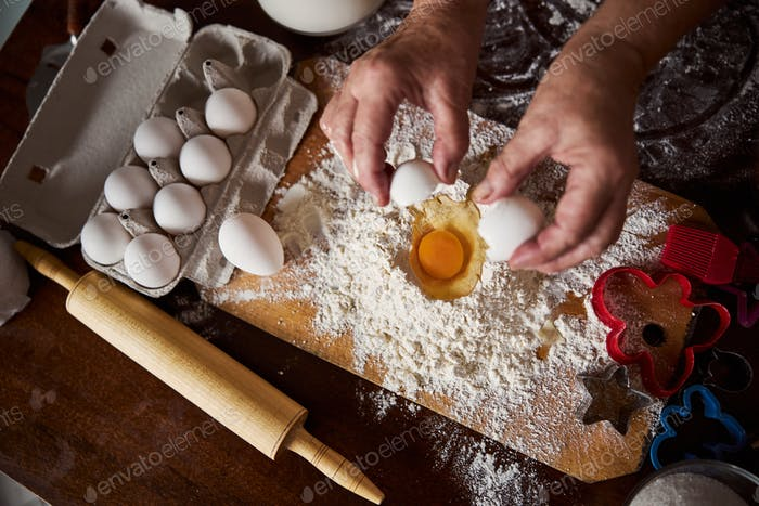 Cook adding one egg according to the recipe
