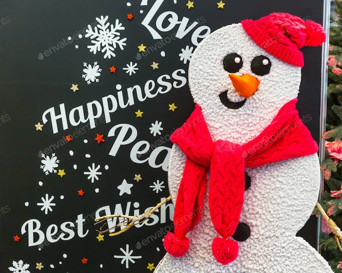 Merry Christmas card design with snowman