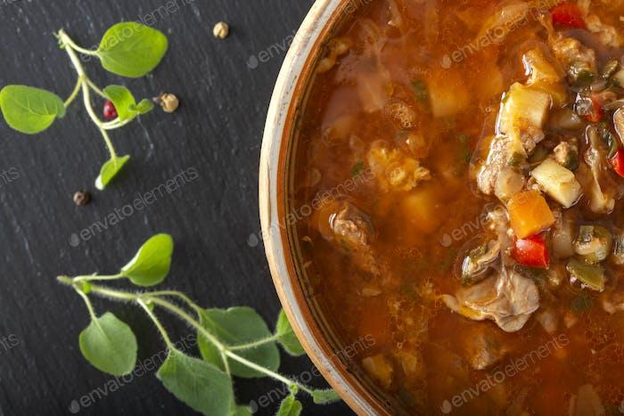 Osteuropa traditionelle saure Suppe oder Borschtsch