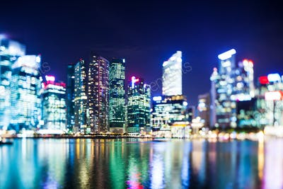 Selective focus Singapore skyline