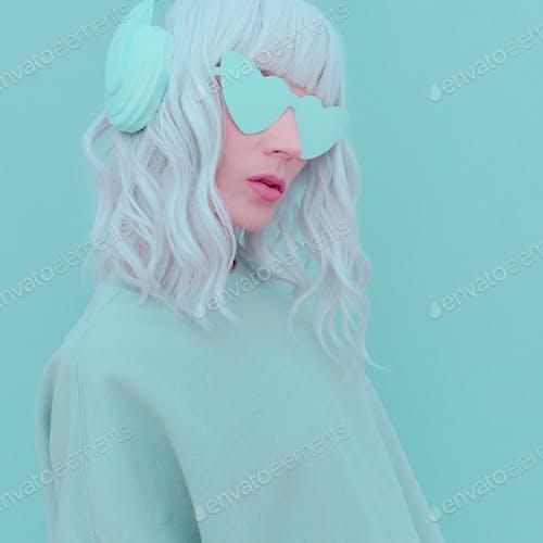 Vanilla Dj Blonde Girl. Monochrome Party style. Fresh aesthetic mint colours