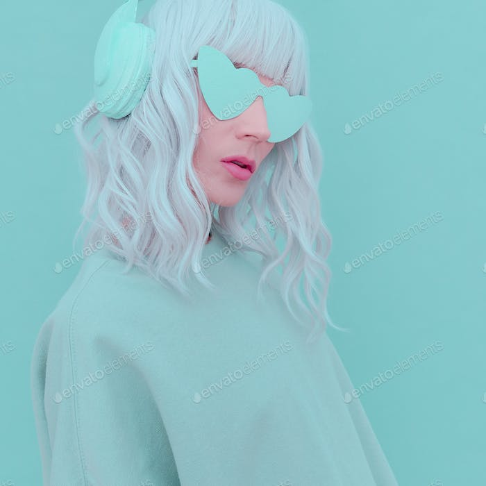 Vanilla Dj Blonde Girl. Monochrome Party style. Fresh aesthetic mint colours