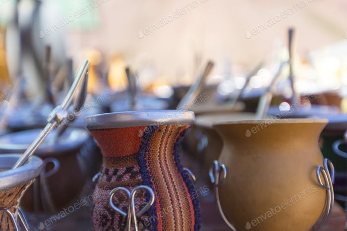 Yerba mate cups sold in the market in Puente del Inca