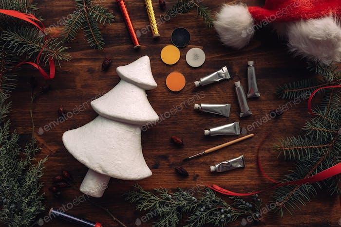 Painting styrofoam Christmas tree