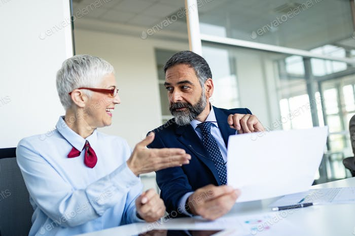 Senior business accountants working together at modern office