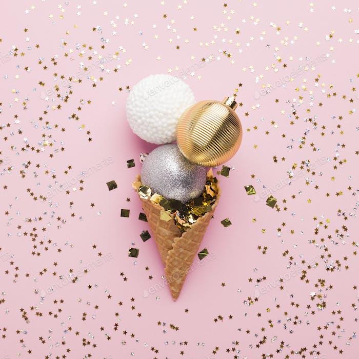 Creative. Ice cream of decorative balls with confetti